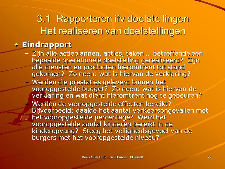 Koen MIlis HUB Jan Umans UHasselt 21 3.1 Rapporteren ifv doelstellingen Het realiseren van doelstellingen Eindrapport –Zijn alle actieplannen, acties,