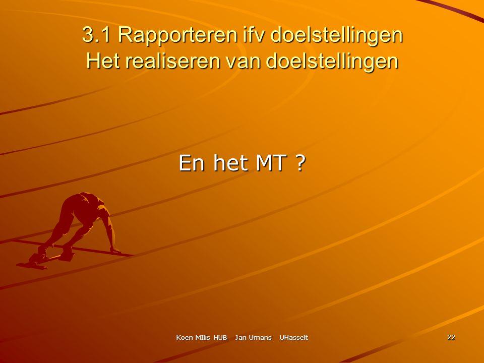 Koen MIlis HUB Jan Umans UHasselt 22 3.1 Rapporteren ifv doelstellingen Het realiseren van doelstellingen En het MT ?