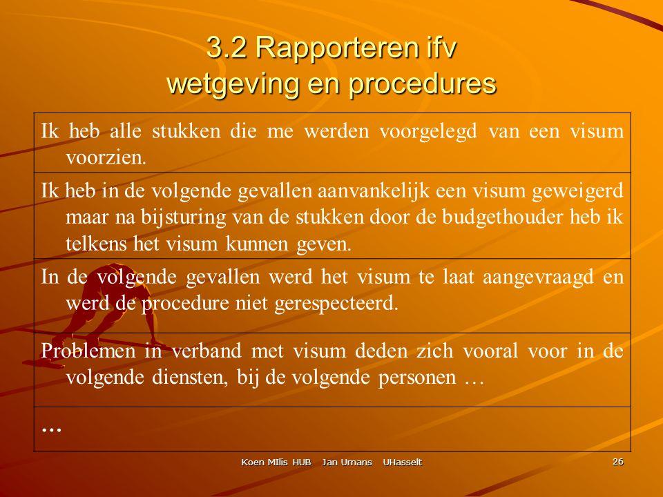 Koen MIlis HUB Jan Umans UHasselt 26 3.2 Rapporteren ifv wetgeving en procedures Ik heb alle stukken die me werden voorgelegd van een visum voorzien.