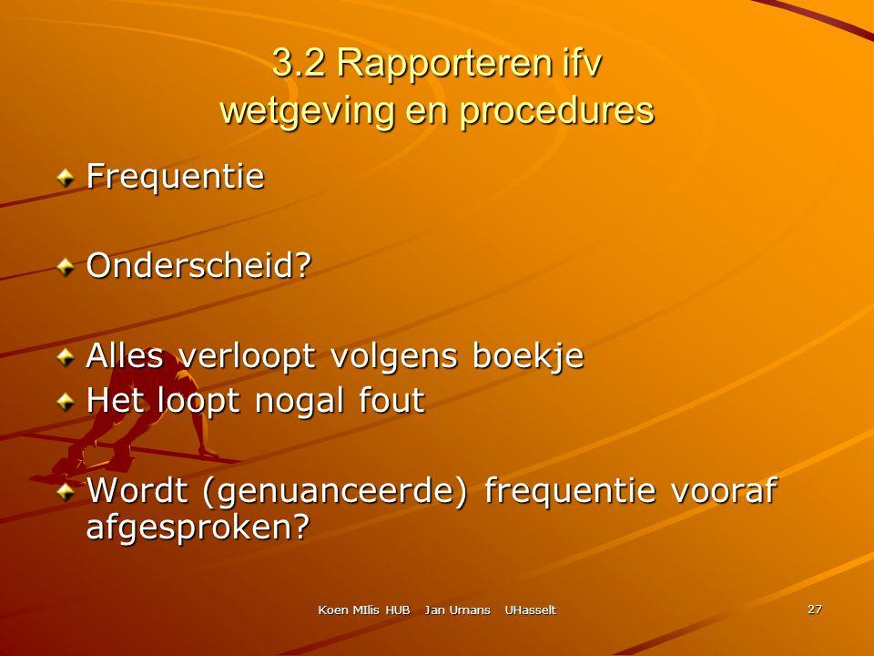 Koen MIlis HUB Jan Umans UHasselt 27 3.2 Rapporteren ifv wetgeving en procedures FrequentieOnderscheid? Alles verloopt volgens boekje Het loopt nogal