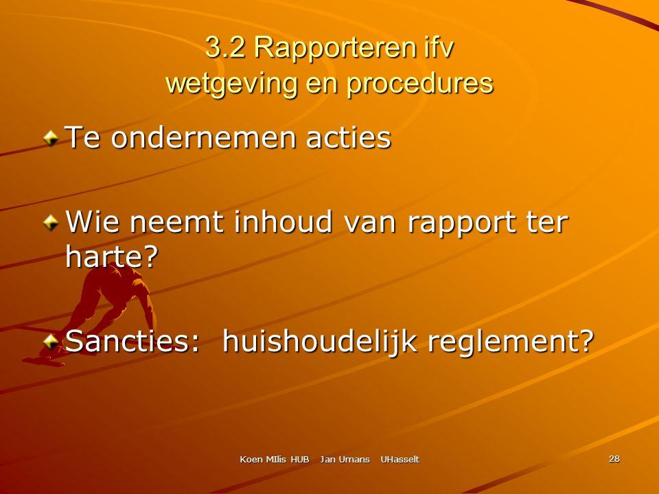 Koen MIlis HUB Jan Umans UHasselt 28 3.2 Rapporteren ifv wetgeving en procedures Te ondernemen acties Wie neemt inhoud van rapport ter harte? Sancties