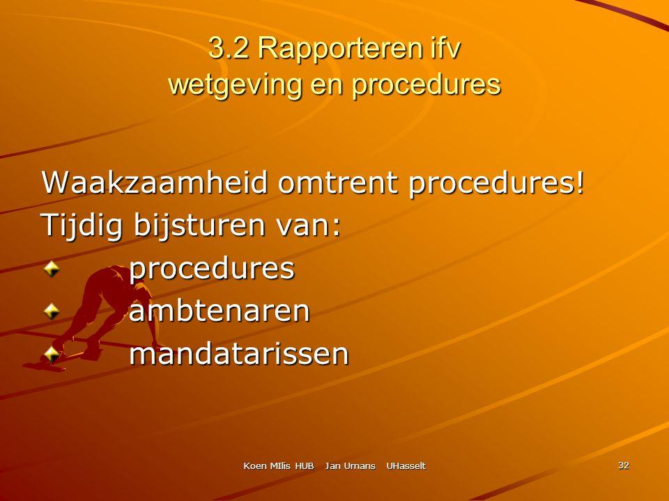 Koen MIlis HUB Jan Umans UHasselt 32 3.2 Rapporteren ifv wetgeving en procedures Waakzaamheid omtrent procedures! Tijdig bijsturen van: procedures pro