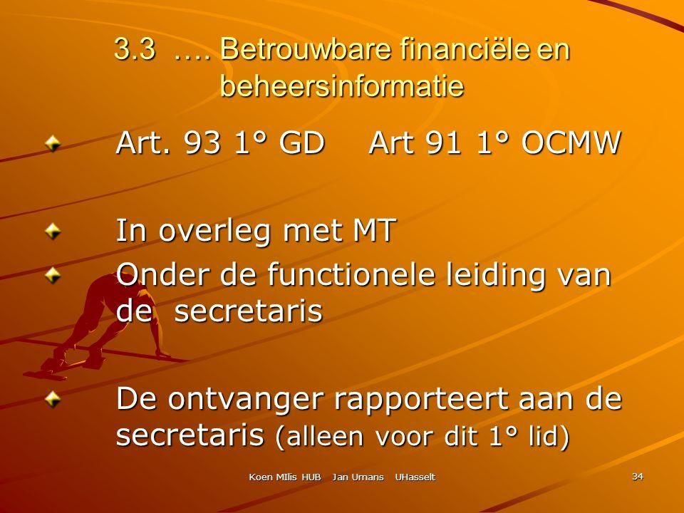 Koen MIlis HUB Jan Umans UHasselt 34 3.3 …. Betrouwbare financiële en beheersinformatie Art. 93 1° GD Art 91 1° OCMW In overleg met MT Onder de functi