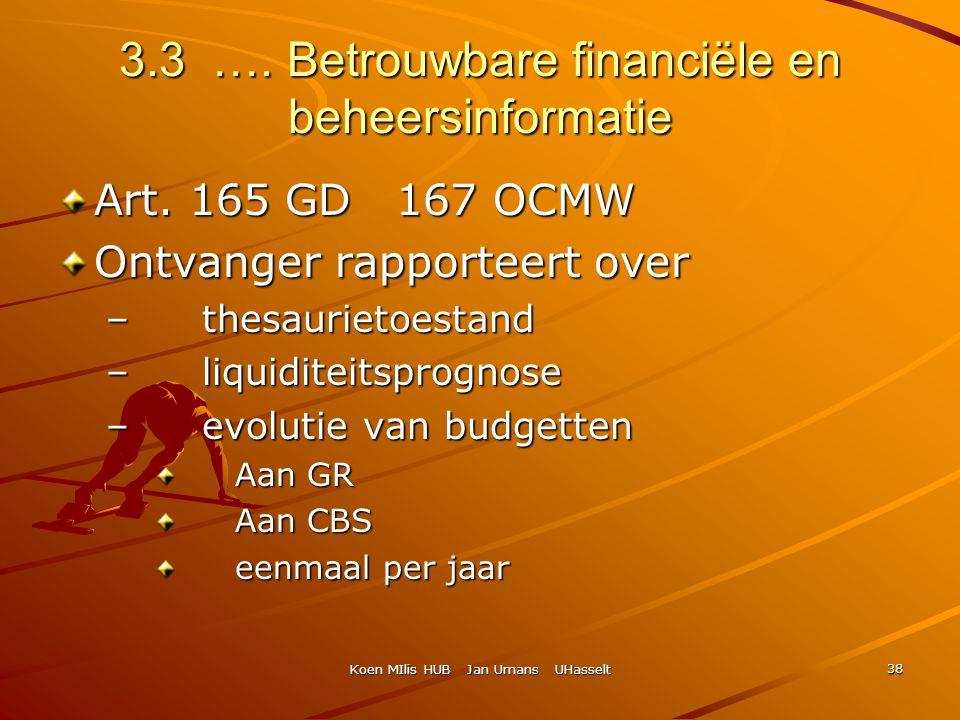 Koen MIlis HUB Jan Umans UHasselt 38 3.3 …. Betrouwbare financiële en beheersinformatie Art. 165 GD 167 OCMW Ontvanger rapporteert over – thesaurietoe