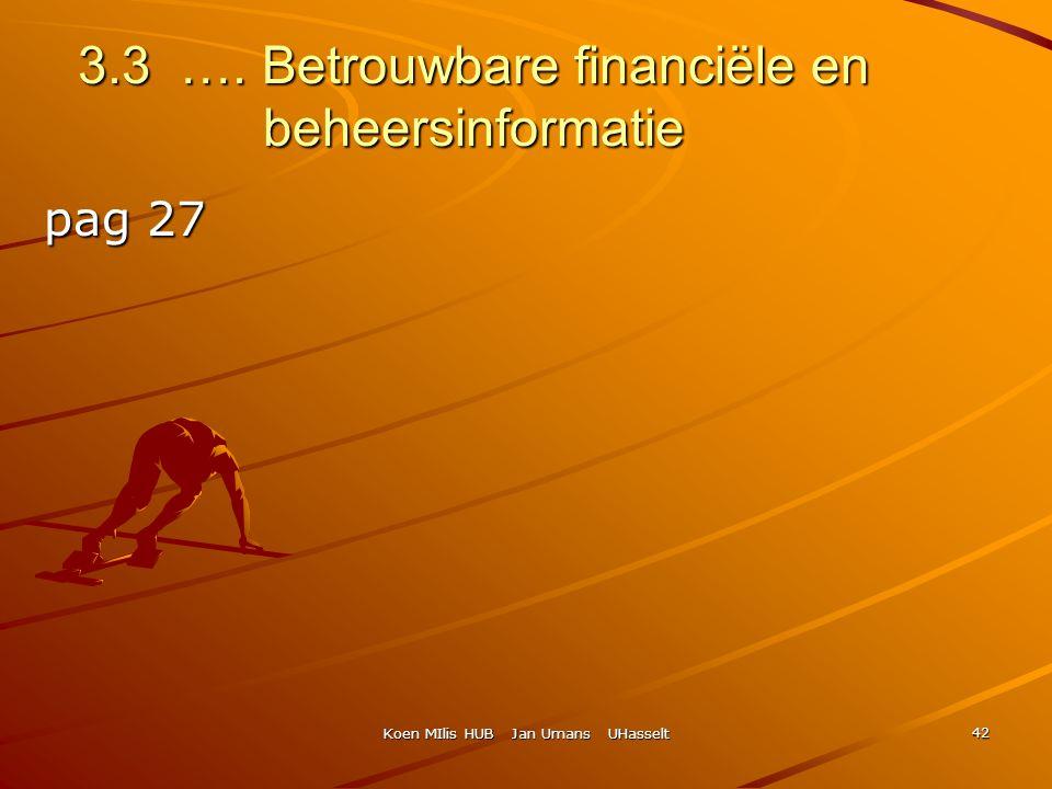 Koen MIlis HUB Jan Umans UHasselt 42 3.3 …. Betrouwbare financiële en beheersinformatie pag 27 pag 27