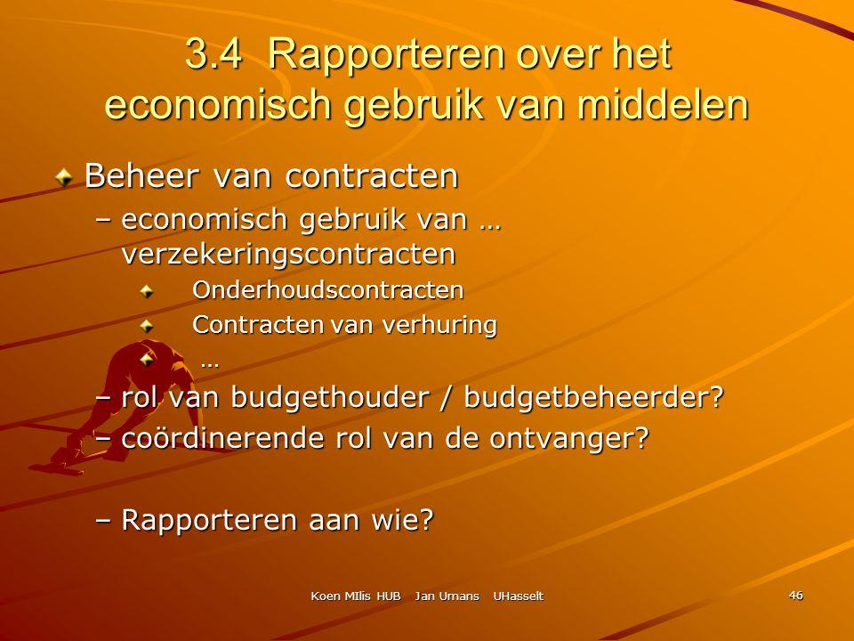 Koen MIlis HUB Jan Umans UHasselt 46 3.4 Rapporteren over het economisch gebruik van middelen Beheer van contracten –economisch gebruik van … verzeker