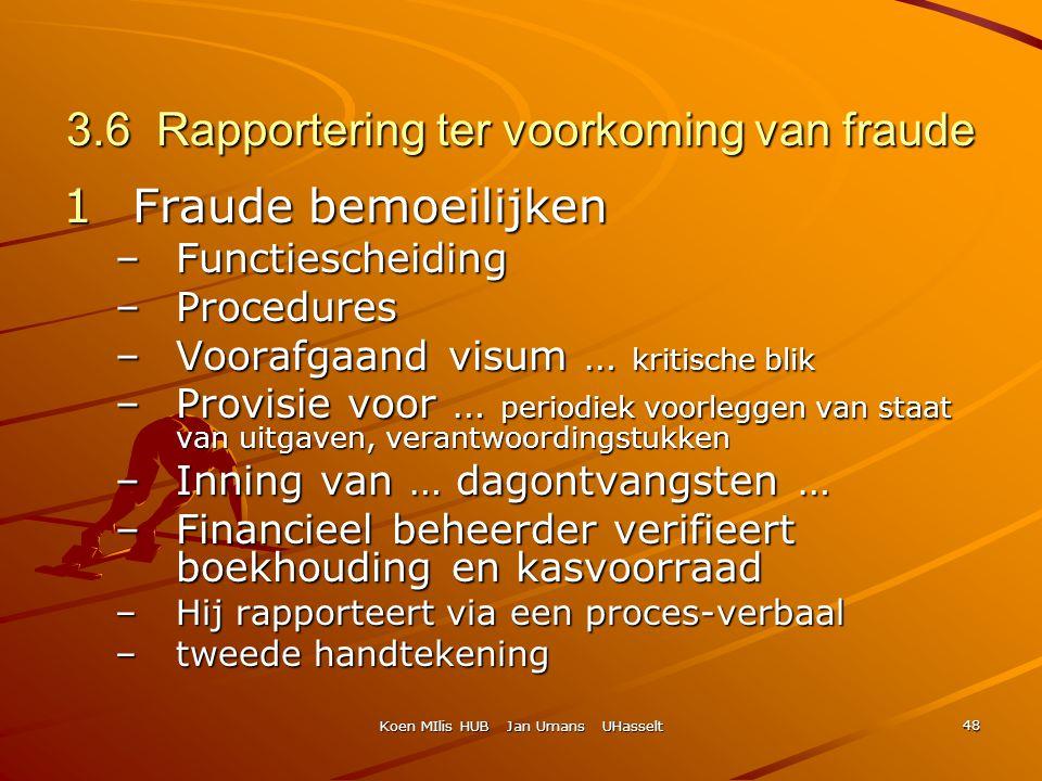 Koen MIlis HUB Jan Umans UHasselt 48 3.6 Rapportering ter voorkoming van fraude 1Fraude bemoeilijken –Functiescheiding –Procedures –Voorafgaand visum