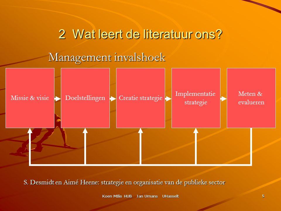 Koen MIlis HUB Jan Umans UHasselt 5 Missie & visieDoelstellingenCreatie strategie Implementatie strategie Meten & evalueren S. Desmidt en Aimé Heene: