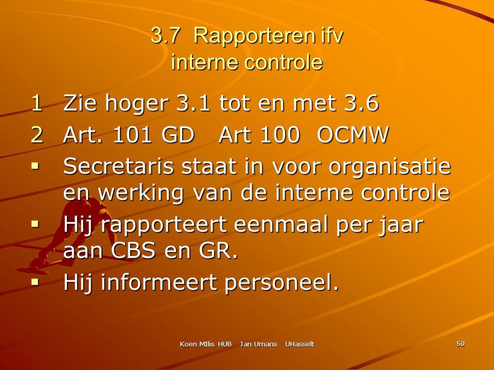 Koen MIlis HUB Jan Umans UHasselt 50 3.7 Rapporteren ifv interne controle 1Zie hoger 3.1 tot en met 3.6 2Art. 101 GD Art 100 OCMW  Secretaris staat i