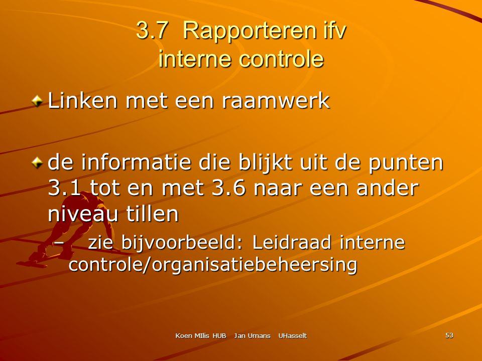Koen MIlis HUB Jan Umans UHasselt 53 3.7 Rapporteren ifv interne controle Linken met een raamwerk de informatie die blijkt uit de punten 3.1 tot en me