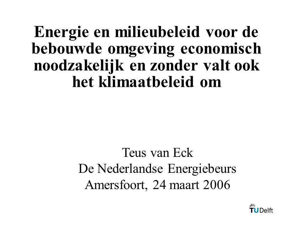 Energie en milieubeleid voor de bebouwde omgeving economisch noodzakelijk en zonder valt ook het klimaatbeleid om Teus van Eck De Nederlandse Energieb