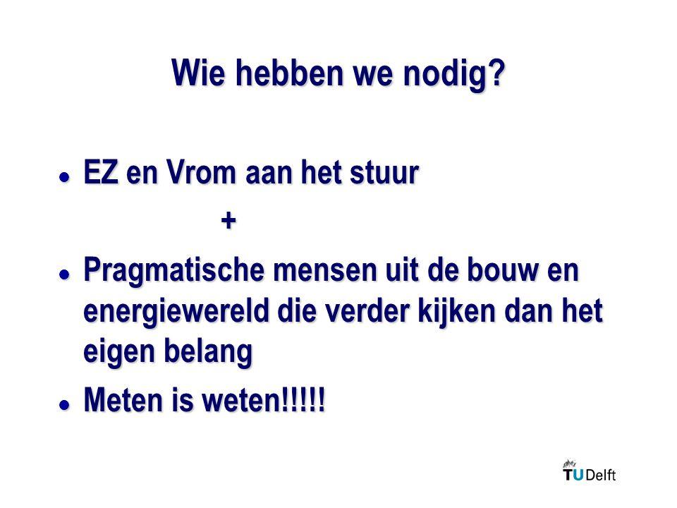 Wie hebben we nodig? l EZ en Vrom aan het stuur + l Pragmatische mensen uit de bouw en energiewereld die verder kijken dan het eigen belang l Meten is