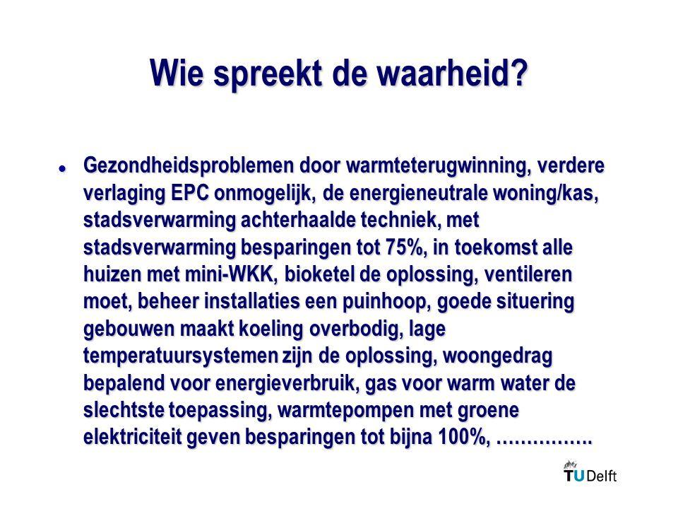 Wie spreekt de waarheid? l Gezondheidsproblemen door warmteterugwinning, verdere verlaging EPC onmogelijk, de energieneutrale woning/kas, stadsverwarm