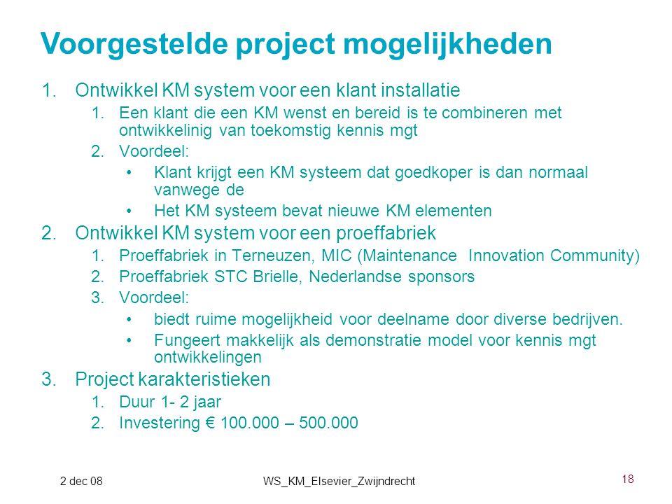18 2 dec 08WS_KM_Elsevier_Zwijndrecht 1.Ontwikkel KM system voor een klant installatie 1.Een klant die een KM wenst en bereid is te combineren met ont