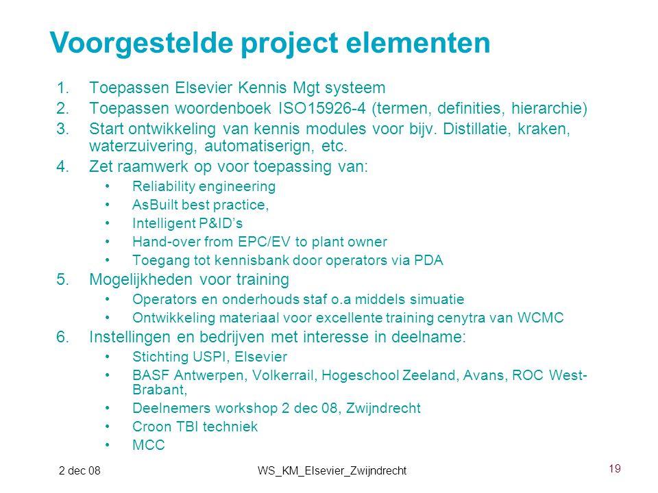 19 2 dec 08WS_KM_Elsevier_Zwijndrecht 1.Toepassen Elsevier Kennis Mgt systeem 2.Toepassen woordenboek ISO15926-4 (termen, definities, hierarchie) 3.St