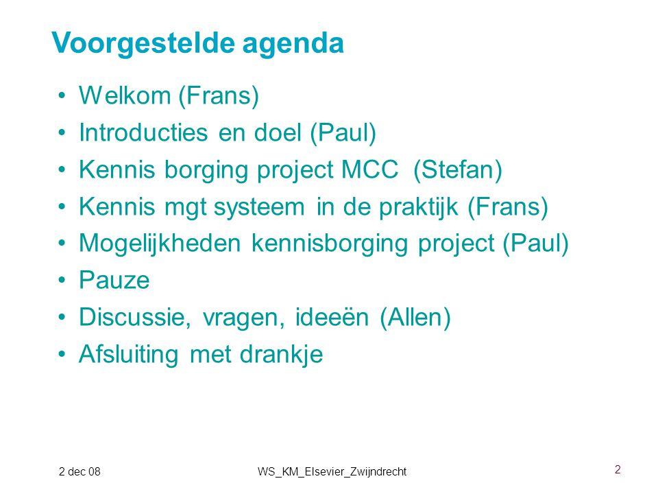2 2 dec 08WS_KM_Elsevier_Zwijndrecht Welkom (Frans) Introducties en doel (Paul) Kennis borging project MCC (Stefan) Kennis mgt systeem in de praktijk