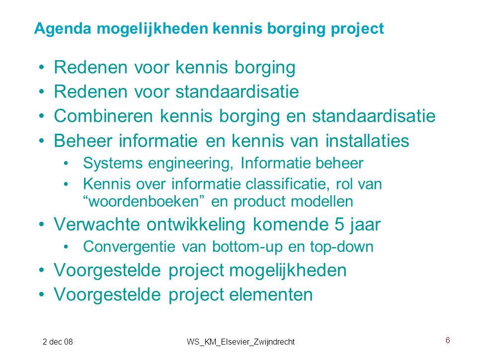 6 2 dec 08WS_KM_Elsevier_Zwijndrecht Redenen voor kennis borging Redenen voor standaardisatie Combineren kennis borging en standaardisatie Beheer info