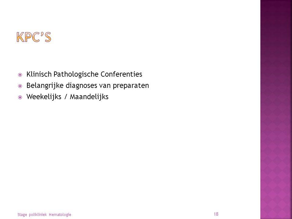  Klinisch Pathologische Conferenties  Belangrijke diagnoses van preparaten  Weekelijks / Maandelijks Stage polikliniek Hematologie 18