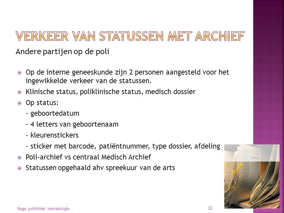 Andere partijen op de poli  Op de interne geneeskunde zijn 2 personen aangesteld voor het ingewikkelde verkeer van de statussen.