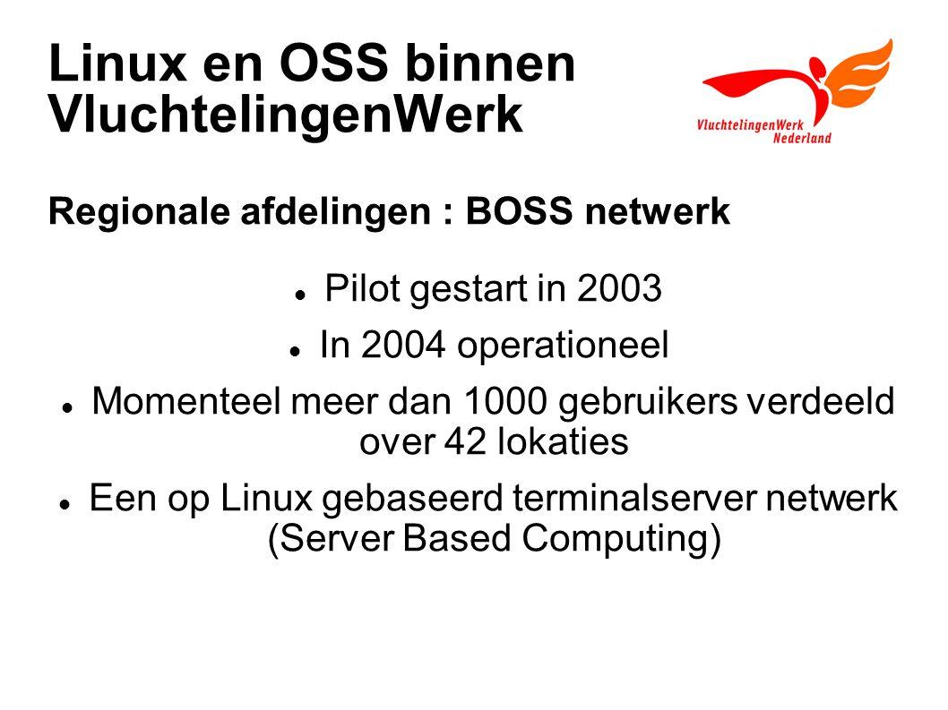 Linux en OSS binnen VluchtelingenWerk Regionale afdelingen : BOSS netwerk Pilot gestart in 2003 In 2004 operationeel Momenteel meer dan 1000 gebruikers verdeeld over 42 lokaties Een op Linux gebaseerd terminalserver netwerk (Server Based Computing)
