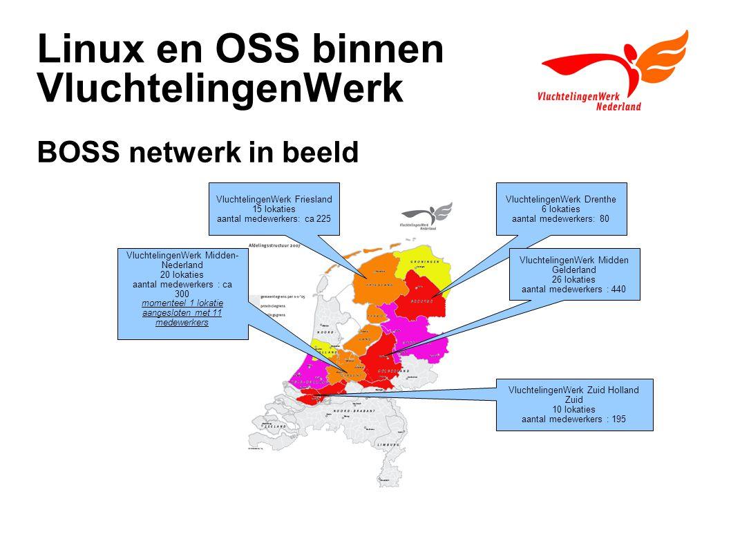 Linux en OSS binnen VluchtelingenWerk BOSS netwerk in beeld VluchtelingenWerk Friesland 15 lokaties aantal medewerkers: ca 225 VluchtelingenWerk Drent