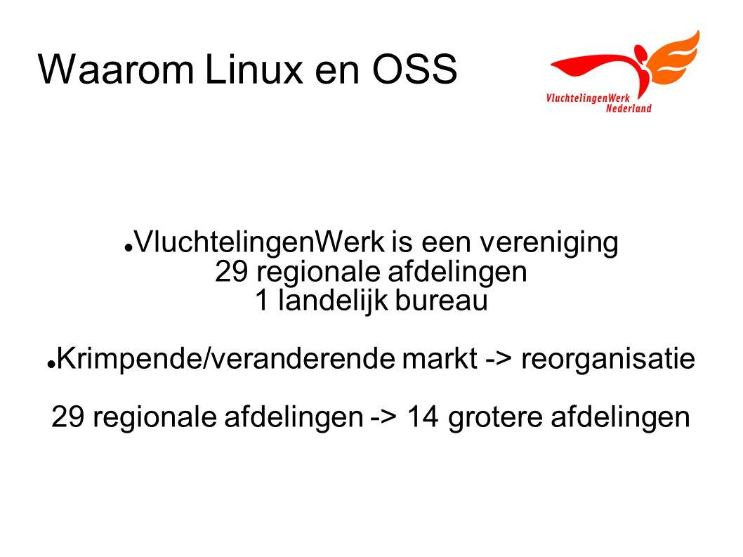 Waarom Linux en OSS VluchtelingenWerk is een vereniging 29 regionale afdelingen 1 landelijk bureau Krimpende/veranderende markt -> reorganisatie 29 regionale afdelingen -> 14 grotere afdelingen
