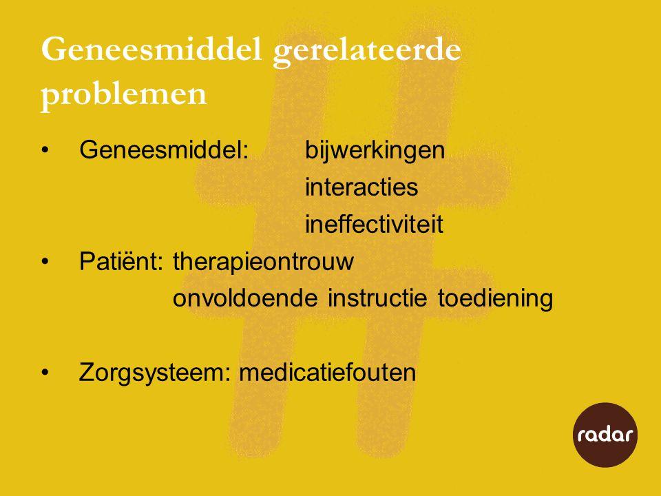 Geneesmiddel gerelateerde problemen Geneesmiddel:bijwerkingen interacties ineffectiviteit Patiënt:therapieontrouw onvoldoende instructie toediening Zo