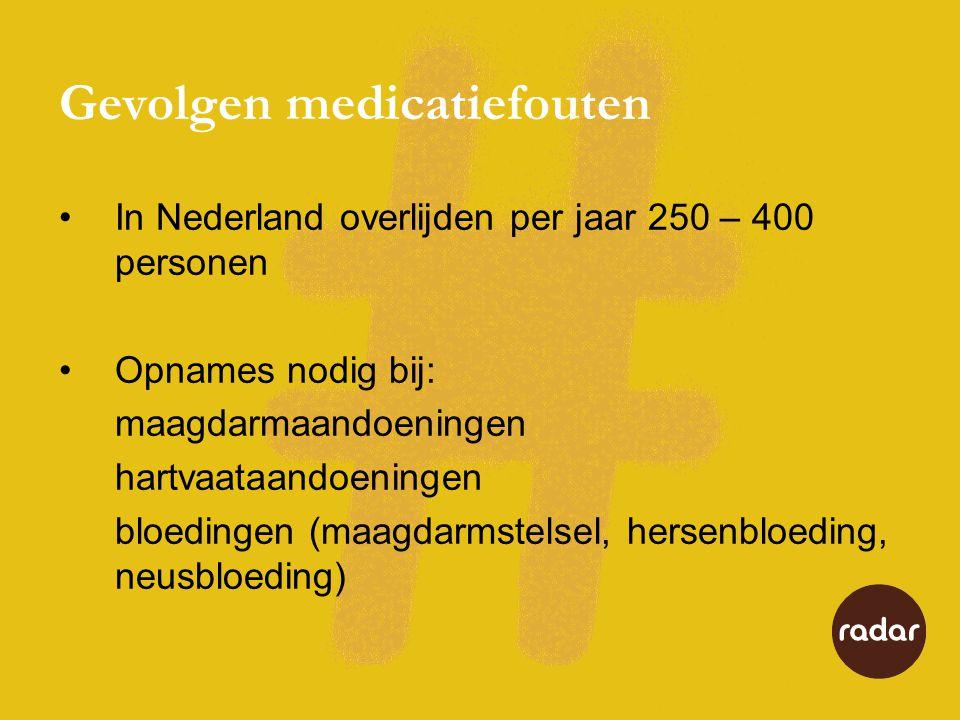 Gevolgen medicatiefouten In Nederland overlijden per jaar 250 – 400 personen Opnames nodig bij: maagdarmaandoeningen hartvaataandoeningen bloedingen (