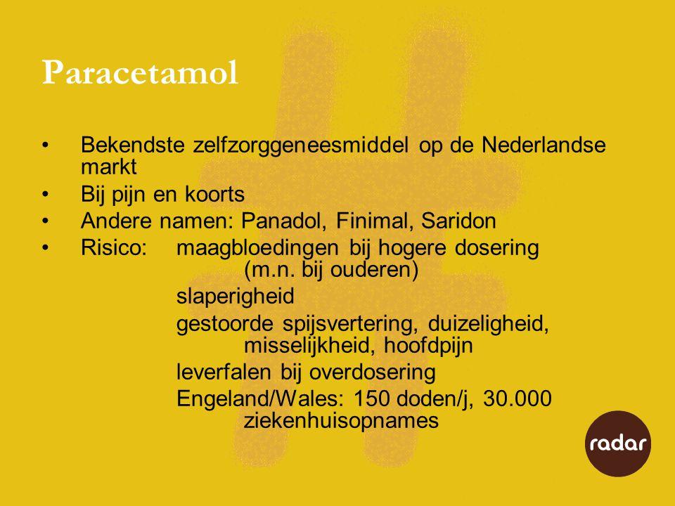 Paracetamol Bekendste zelfzorggeneesmiddel op de Nederlandse markt Bij pijn en koorts Andere namen: Panadol, Finimal, Saridon Risico:maagbloedingen bi