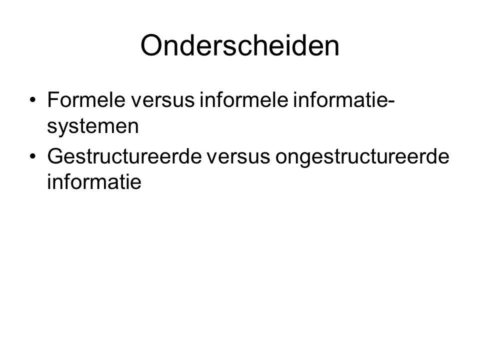 Onderscheiden Formele versus informele informatie- systemen Gestructureerde versus ongestructureerde informatie