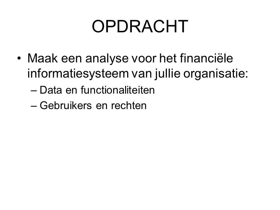 OPDRACHT Maak een analyse voor het financiële informatiesysteem van jullie organisatie: –Data en functionaliteiten –Gebruikers en rechten