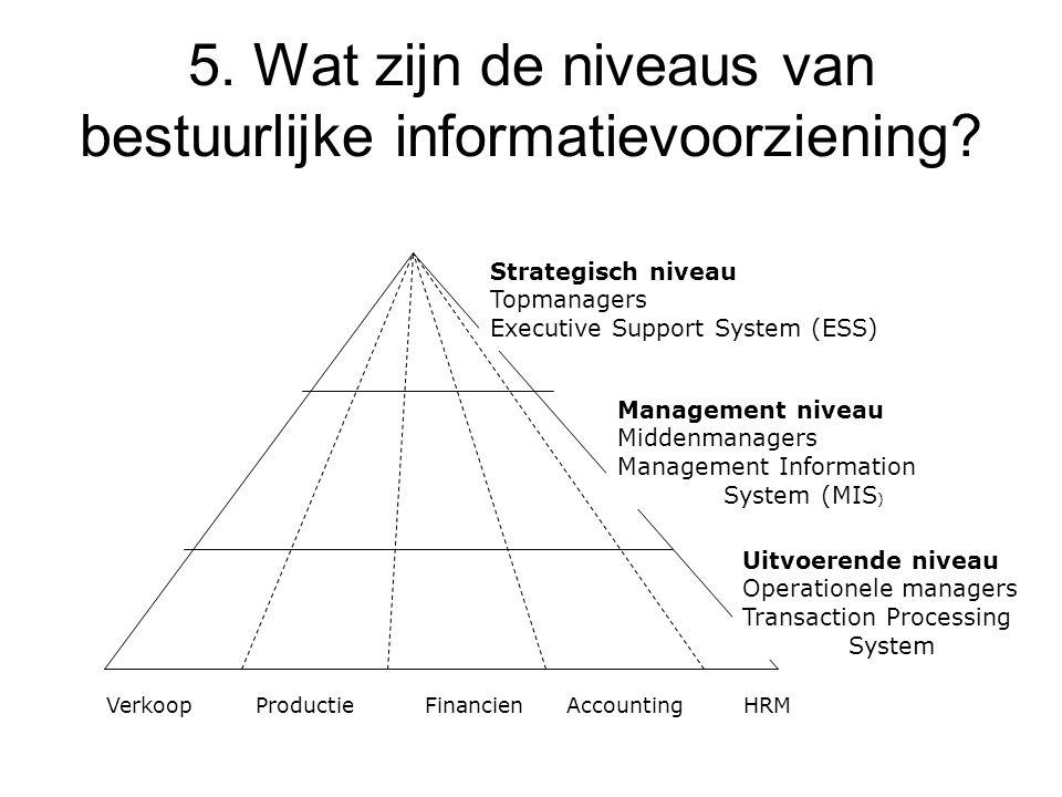 5. Wat zijn de niveaus van bestuurlijke informatievoorziening? Strategisch niveau Topmanagers Executive Support System (ESS) Management niveau Middenm