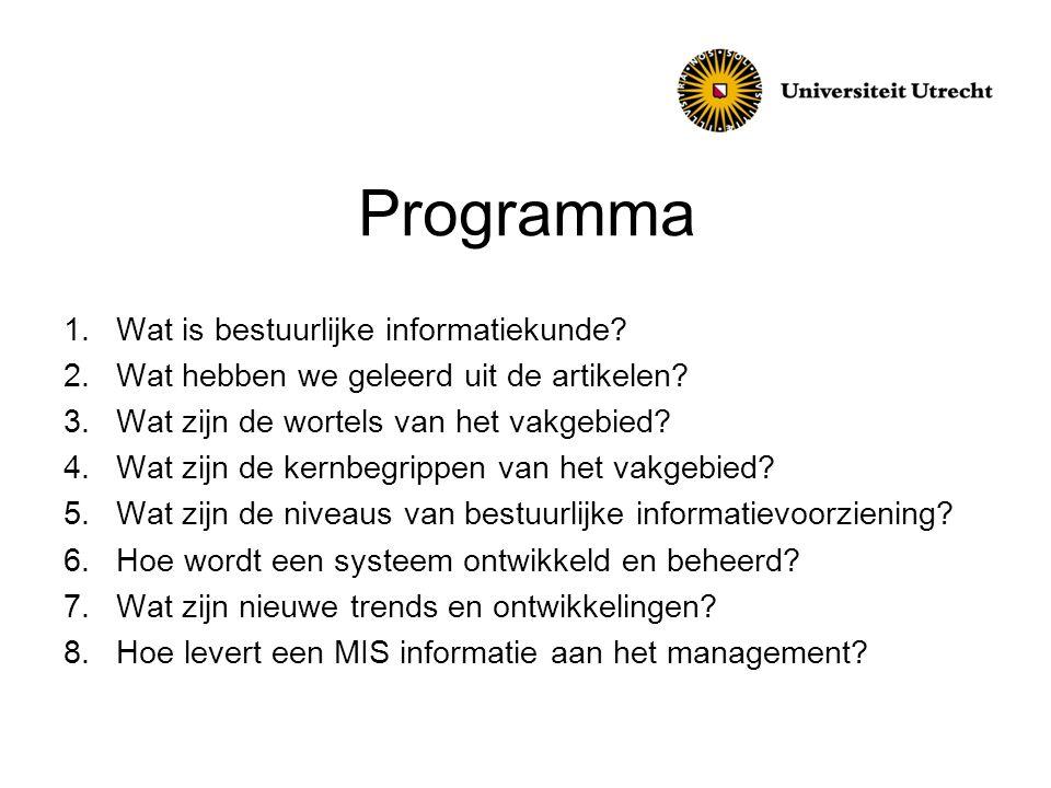 Programma 1.Wat is bestuurlijke informatiekunde? 2.Wat hebben we geleerd uit de artikelen? 3.Wat zijn de wortels van het vakgebied? 4.Wat zijn de kern