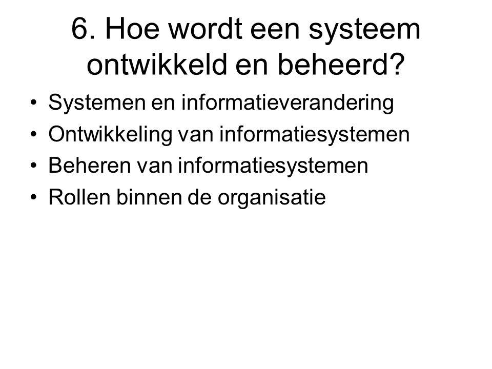 6. Hoe wordt een systeem ontwikkeld en beheerd? Systemen en informatieverandering Ontwikkeling van informatiesystemen Beheren van informatiesystemen R
