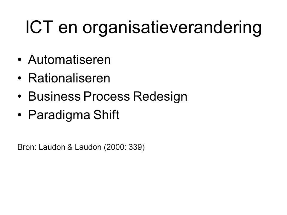 ICT en organisatieverandering Automatiseren Rationaliseren Business Process Redesign Paradigma Shift Bron: Laudon & Laudon (2000: 339)