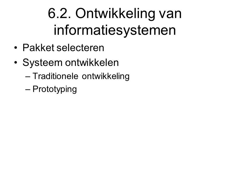 6.2. Ontwikkeling van informatiesystemen Pakket selecteren Systeem ontwikkelen –Traditionele ontwikkeling –Prototyping