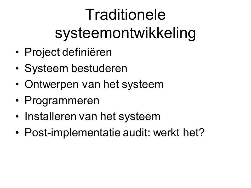 Traditionele systeemontwikkeling Project definiëren Systeem bestuderen Ontwerpen van het systeem Programmeren Installeren van het systeem Post-impleme