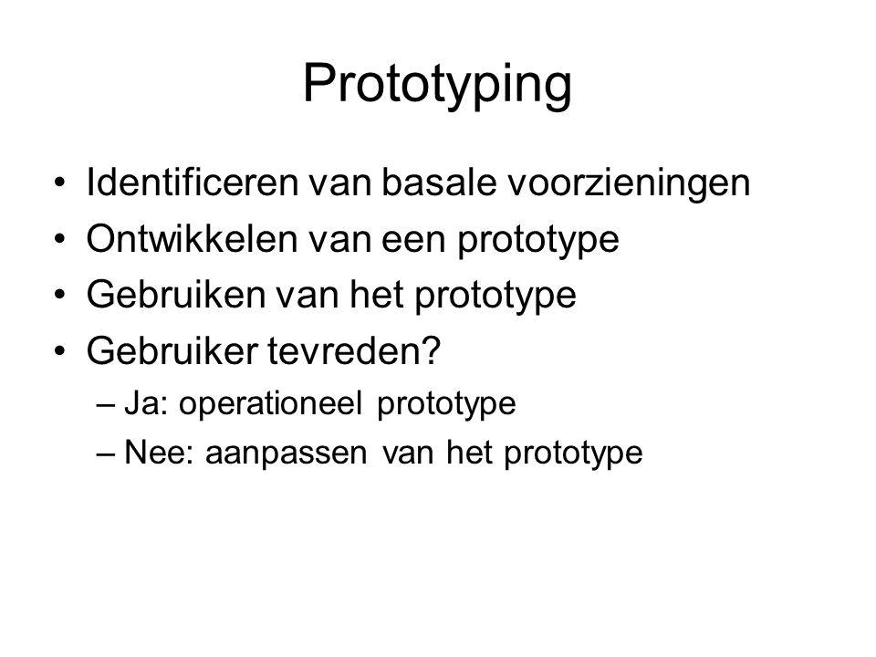 Prototyping Identificeren van basale voorzieningen Ontwikkelen van een prototype Gebruiken van het prototype Gebruiker tevreden? –Ja: operationeel pro