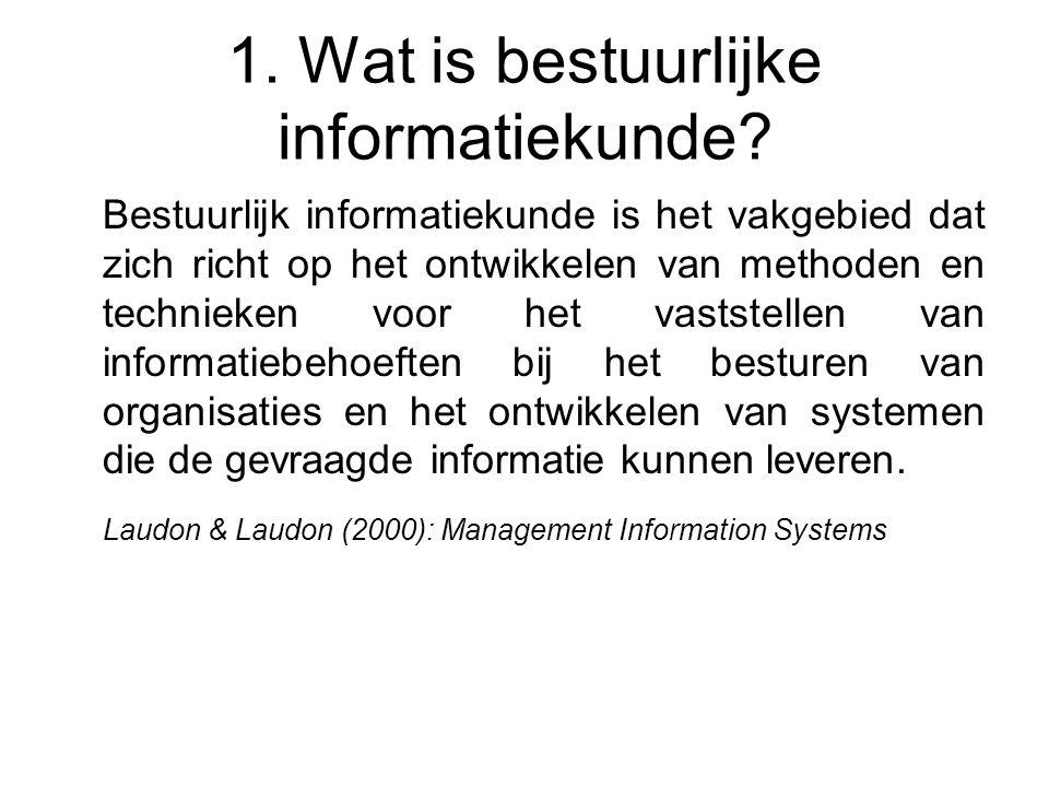 1. Wat is bestuurlijke informatiekunde? Bestuurlijk informatiekunde is het vakgebied dat zich richt op het ontwikkelen van methoden en technieken voor