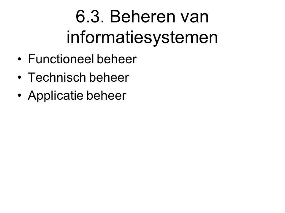 6.3. Beheren van informatiesystemen Functioneel beheer Technisch beheer Applicatie beheer
