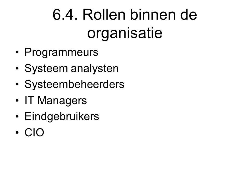 6.4. Rollen binnen de organisatie Programmeurs Systeem analysten Systeembeheerders IT Managers Eindgebruikers CIO