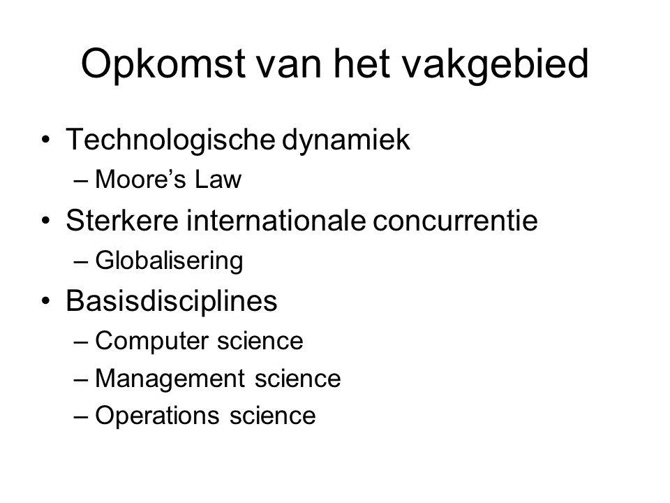 Opkomst van het vakgebied Technologische dynamiek –Moore's Law Sterkere internationale concurrentie –Globalisering Basisdisciplines –Computer science