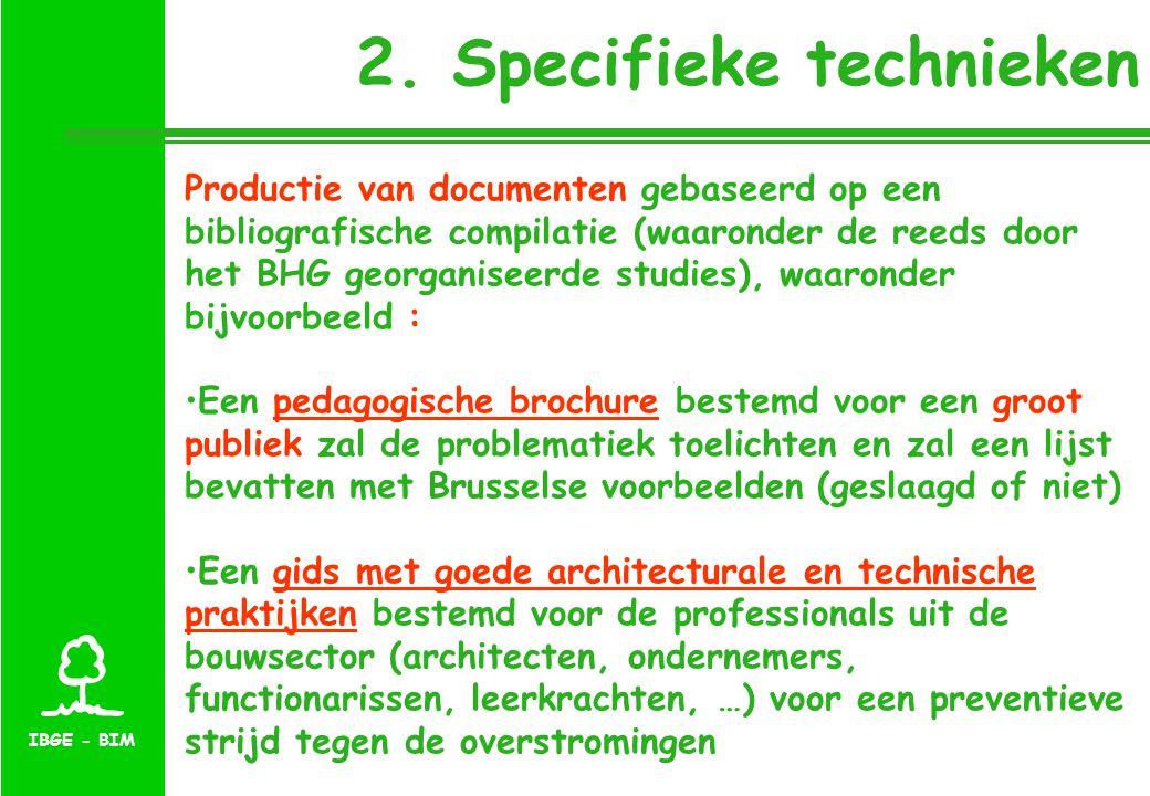IBGE - BIM 2. Specifieke technieken Productie van documenten gebaseerd op een bibliografische compilatie (waaronder de reeds door het BHG georganiseer