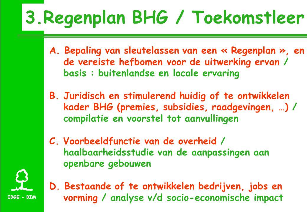 IBGE - BIM 3.Regenplan BHG / Toekomstleer A. Bepaling van sleutelassen van een « Regenplan », en de vereiste hefbomen voor de uitwerking ervan / basis