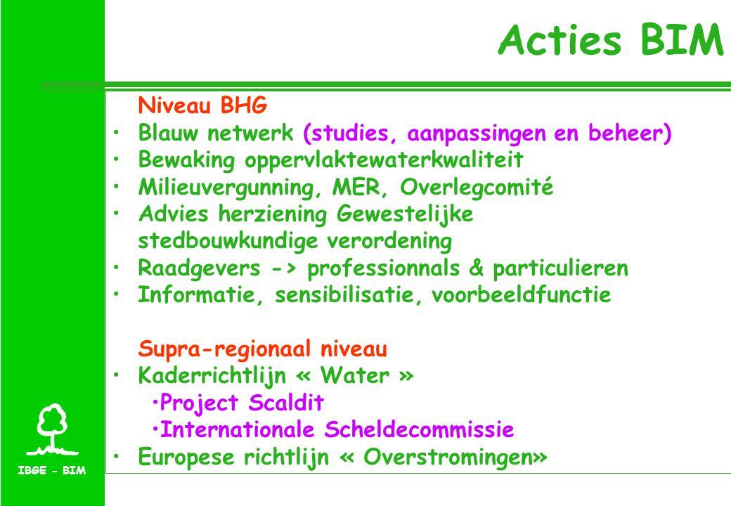 Acties BIM Niveau BHG Blauw netwerk (studies, aanpassingen en beheer) Bewaking oppervlaktewaterkwaliteit Milieuvergunning, MER, Overlegcomité Advies herziening Gewestelijke stedbouwkundige verordening Raadgevers -> professionnals & particulieren Informatie, sensibilisatie, voorbeeldfunctie Supra-regionaal niveau Kaderrichtlijn « Water » Project Scaldit Internationale Scheldecommissie Europese richtlijn « Overstromingen»