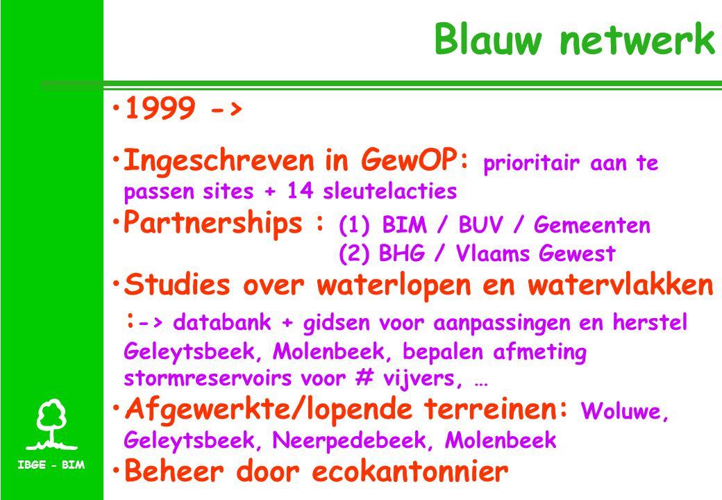 IBGE - BIM Blauw netwerk 1999 -> Ingeschreven in GewOP: prioritair aan te passen sites + 14 sleutelacties Partnerships : (1) BIM / BUV / Gemeenten (2) BHG / Vlaams Gewest Studies over waterlopen en watervlakken : -> databank + gidsen voor aanpassingen en herstel Geleytsbeek, Molenbeek, bepalen afmeting stormreservoirs voor # vijvers, … Afgewerkte/lopende terreinen: Woluwe, Geleytsbeek, Neerpedebeek, Molenbeek Beheer door ecokantonnier