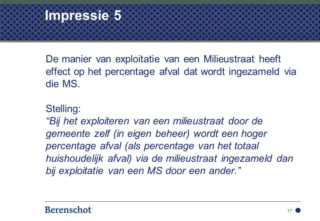 Impressie 5 De manier van exploitatie van een Milieustraat heeft effect op het percentage afval dat wordt ingezameld via die MS.