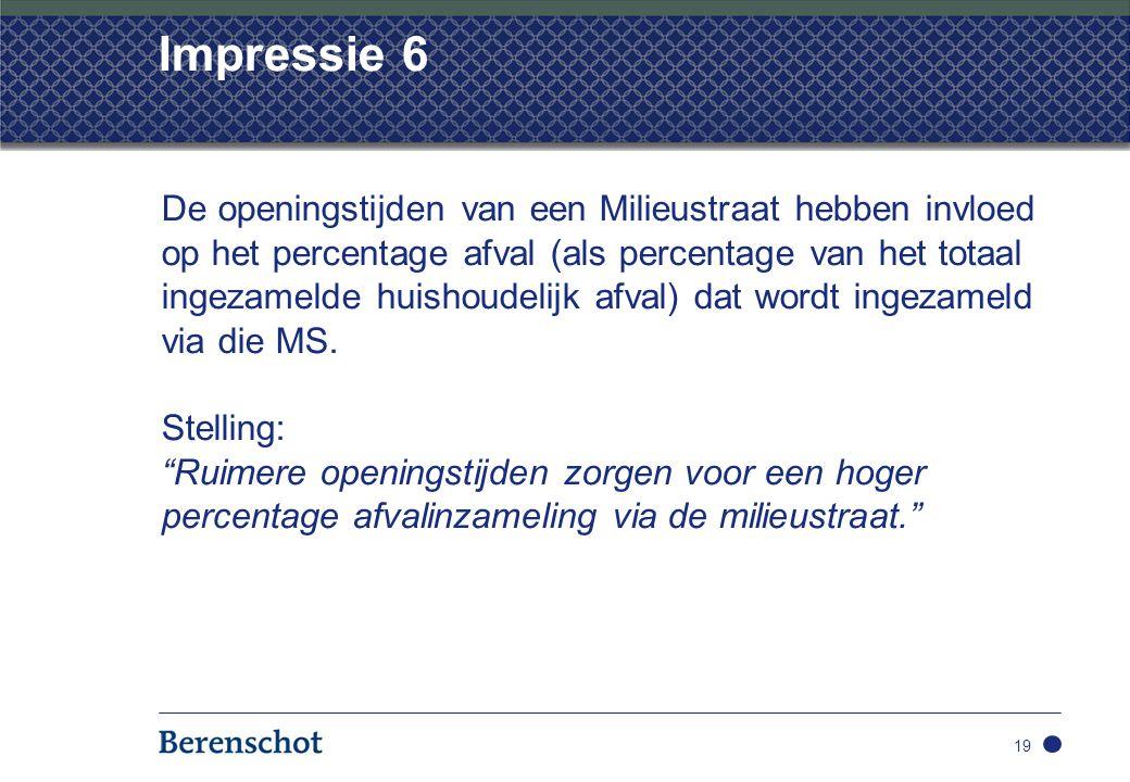 Impressie 6 De openingstijden van een Milieustraat hebben invloed op het percentage afval (als percentage van het totaal ingezamelde huishoudelijk afval) dat wordt ingezameld via die MS.
