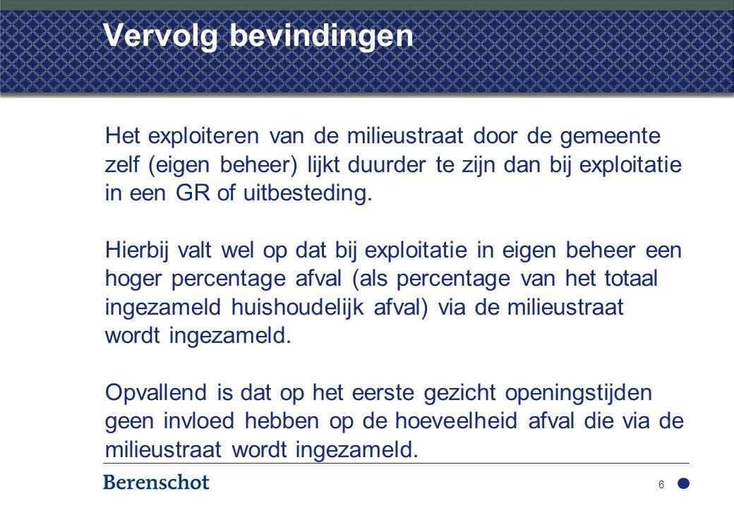 Vervolg bevindingen Het exploiteren van de milieustraat door de gemeente zelf (eigen beheer) lijkt duurder te zijn dan bij exploitatie in een GR of uitbesteding.