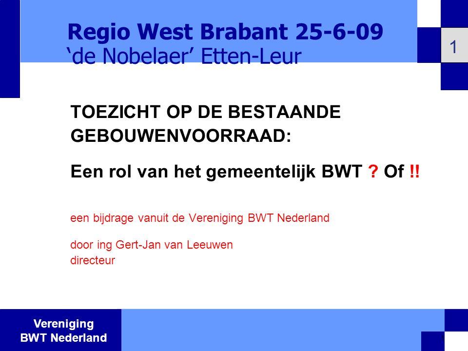 Vereniging BWT Nederland 12 Bouwbesluit Gebruikbesluit Activiteitenbesluit Één checklist per object : Regelgeving: Praktijk: Opbouw integraal toezichtprotocol (Integraal) Toezichtprotocol 12